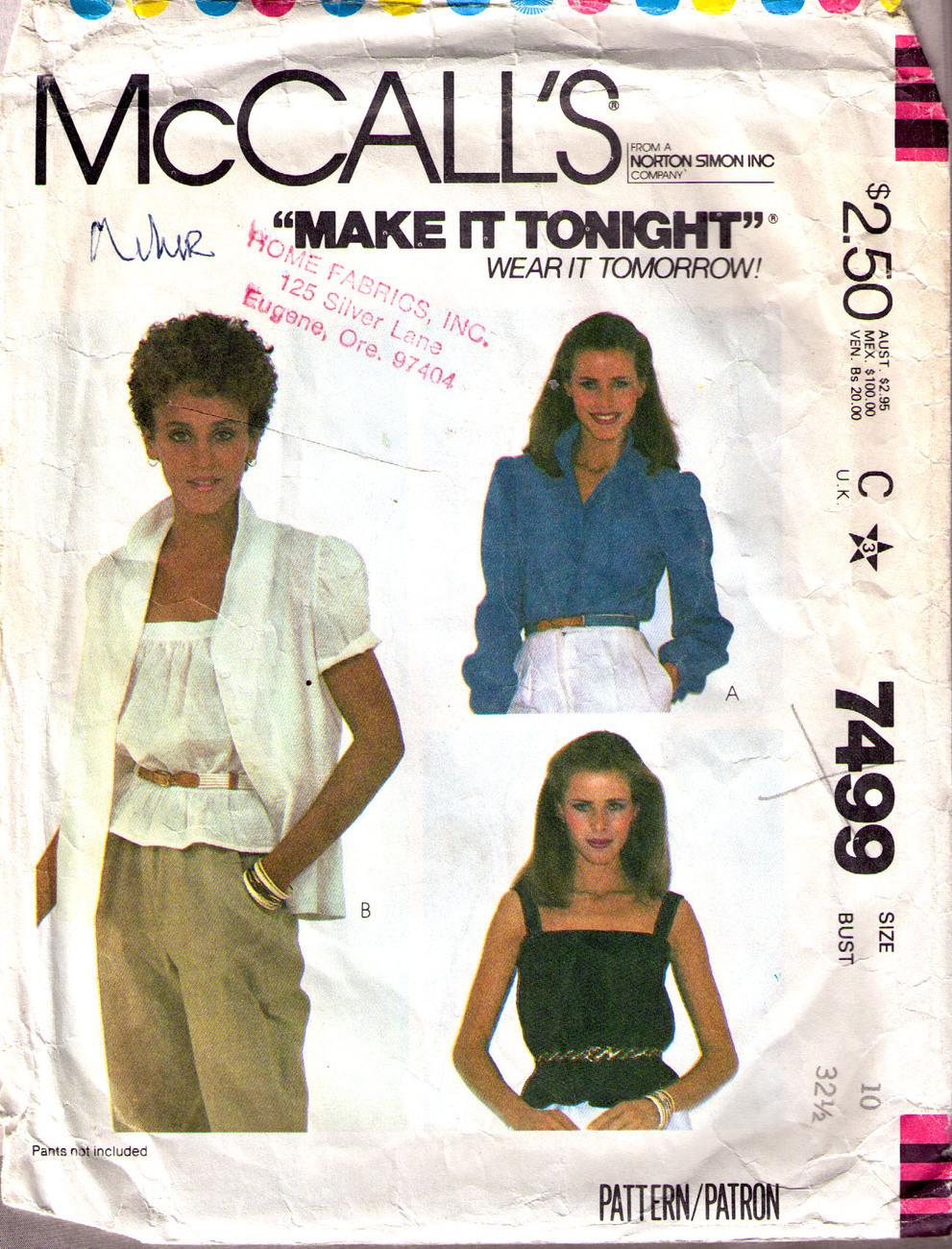 1981 Blouse & Camisole Pattern 7499-m Size 10  Bonanza