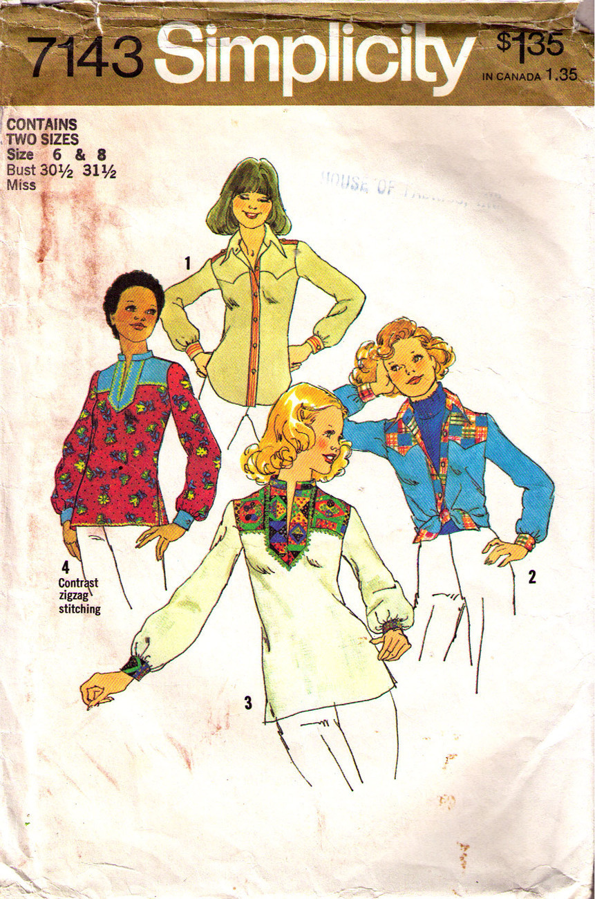 1975 SHIRTS Pattern 7143-s Sizes 6 & 8  -  Complete Simplicity New Look