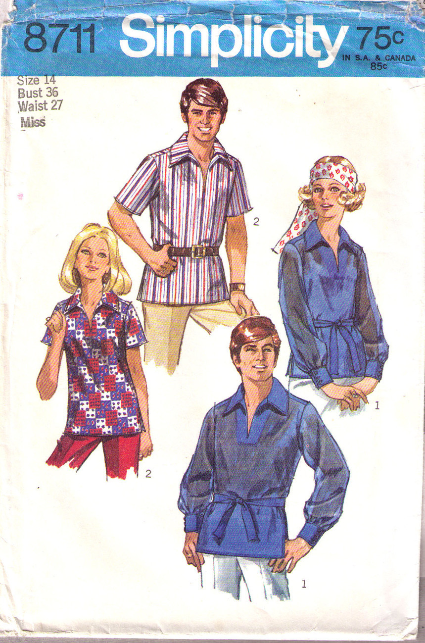 1970 Shirt Pattern 8711-s Size 14 Simplicity New Look