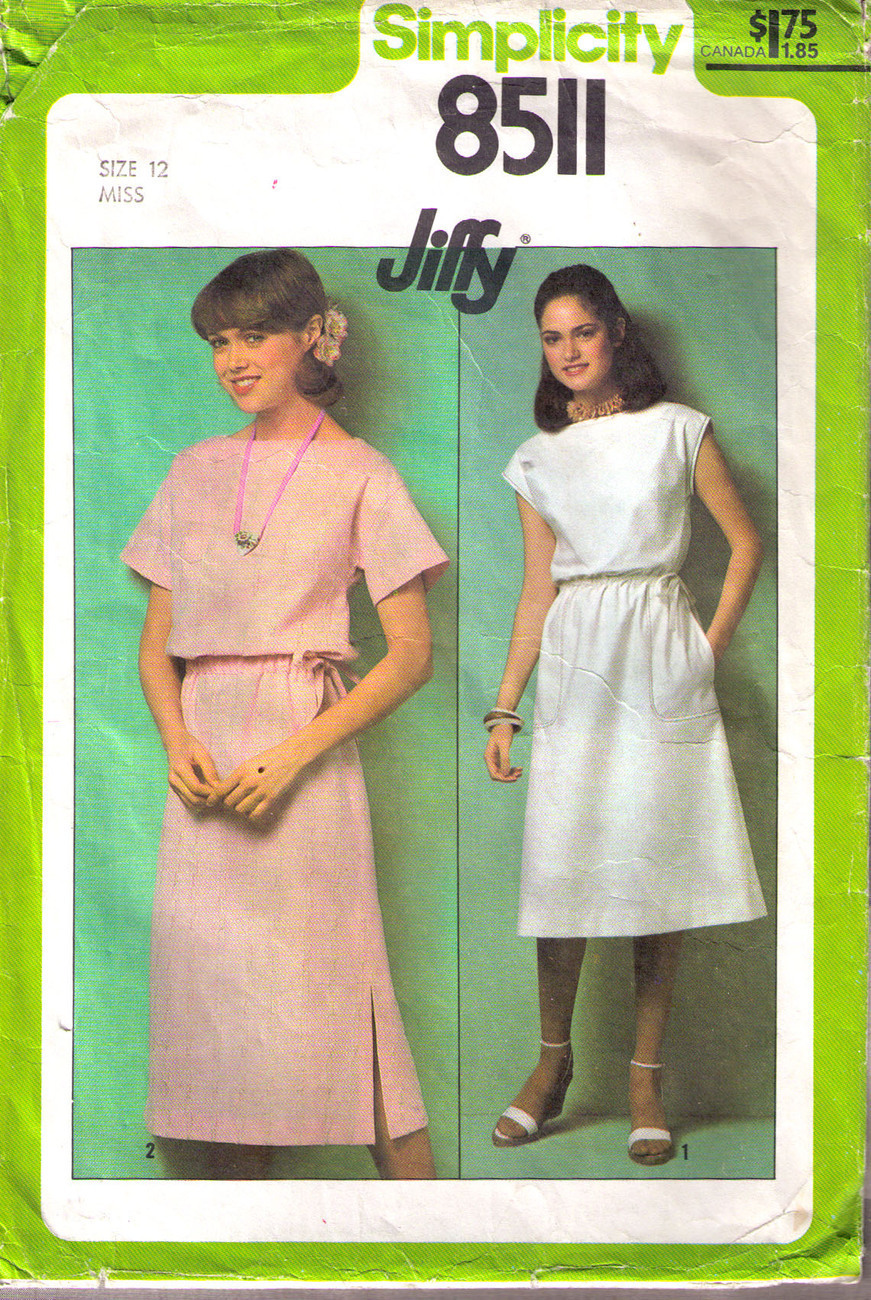 1978 PULLOVER DRESS Pattern 8511-s Size 12 - Complete Simplicity New Look