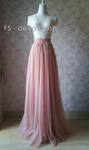 Blush Long Tulle Skirt Blush Wedding Bridesmaid Long Tulle Skirt A-line T1868 image 5
