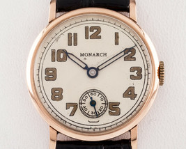 Monarch 14k Rose Gold Round Hand-Wind Vintage Watch w/ Leather Band - $791.37
