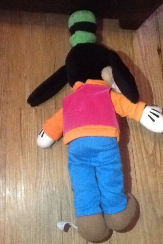 "DISNEY GOOFY doll in orange LS shirt pink Vest brown pants 14"" Soft Plush"