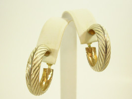 Vintage Lewis Segal Chevron Cream Enamel Design Hoop Clip Earrings Gold ... - $12.38