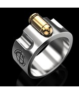 Men Jewelry 925 Sterling Silver 3D Bullet Ring Mens Simple Punk Rings An... - $25.99