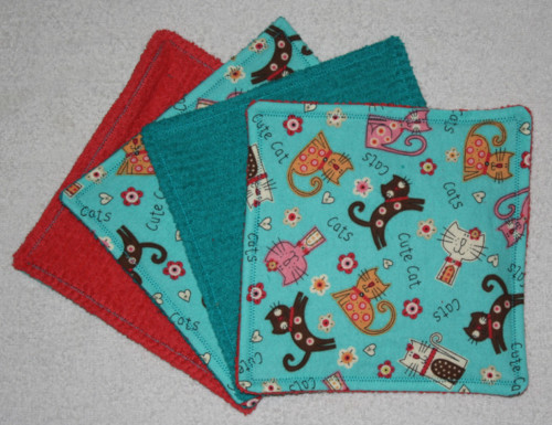 Set of 4 Cute Cats Cloth Baby Wipes/Wash Cloths