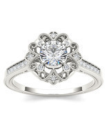 IGI Certified 14k White Gold 0.50 Ct Diamond Flower Halo Engagement Ring - £599.99 GBP