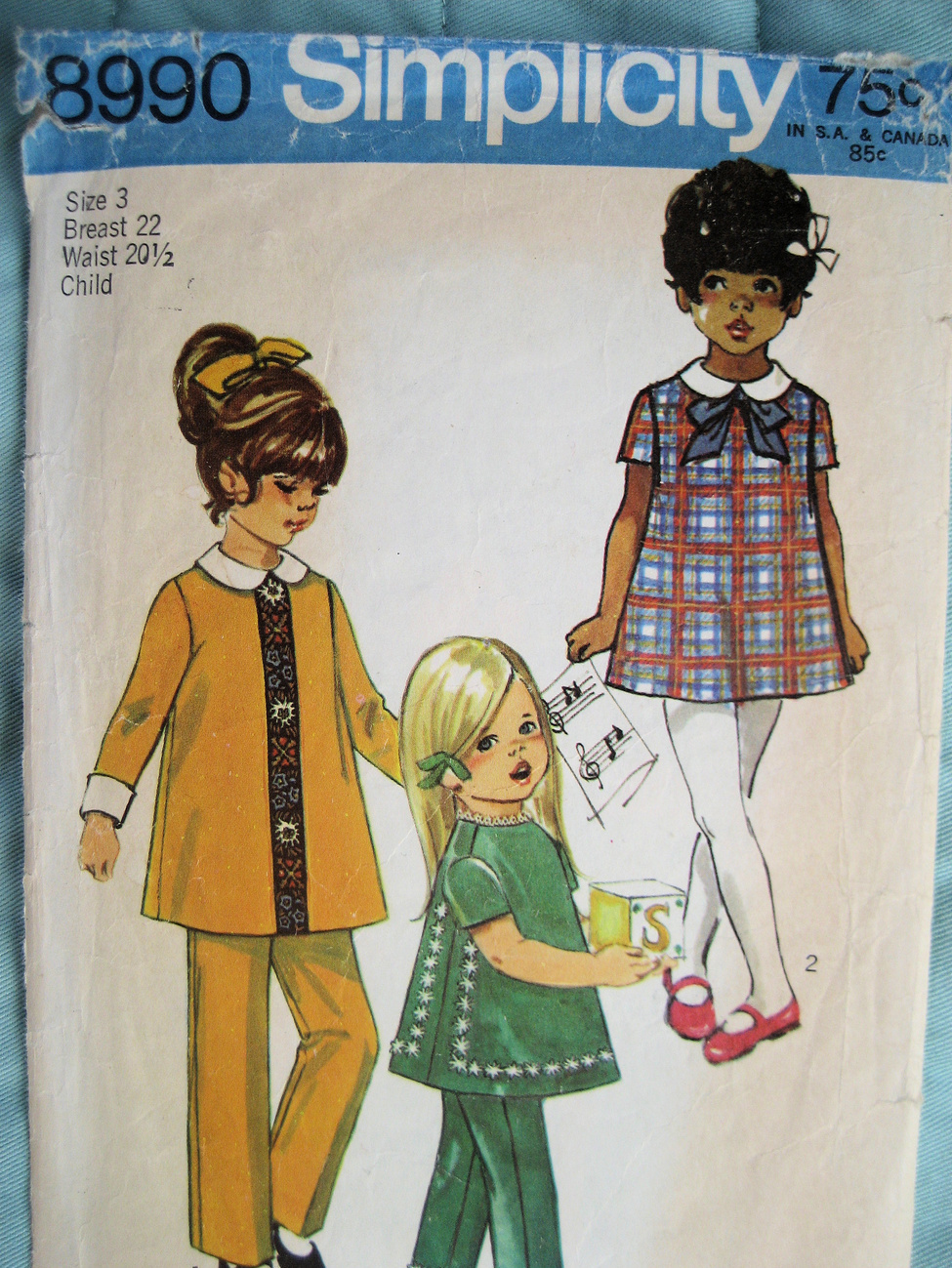 Primary image for Simplicity 8990 Vintage70s Unused Pattern Child 3 Dress Pant