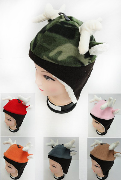 Case of [12] Kids' Fleece Lined Hats - Deer Antler & Ears