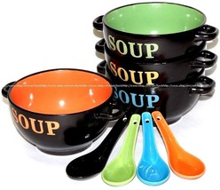 4x Ceramic Soup Bowls Dinner Lunch Breakfast Cereal Bowl w/ Handle & Spo... - $26.99