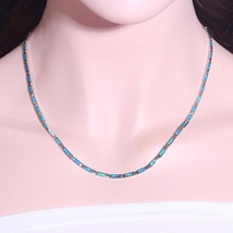 Ocean Blue Fire Opal Chains Necklaces Silver Plated Adjustable Long & Chokers Ne image 3