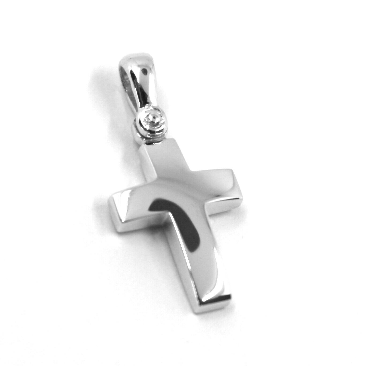 SOLID 18K WHITE GOLD CROSS, SQUARE ROUNDED 16mm, 0.63 inches, MADE IN ITALY