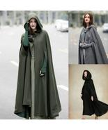 Women's Fashion Autumn Winter Gothic Trendy Maxi Hooded Wool Cloak - $54.95