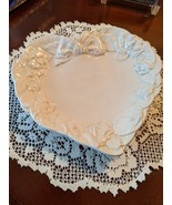 "Ivory Heart Shaped Plate w/ Roses and Bow Carved Border from Italy, 8"" L... - $12.00"