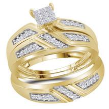 Sterling Silver His Her Princess Diamond Matching Bridal Wedding Ring Set 1/3 - $250.00
