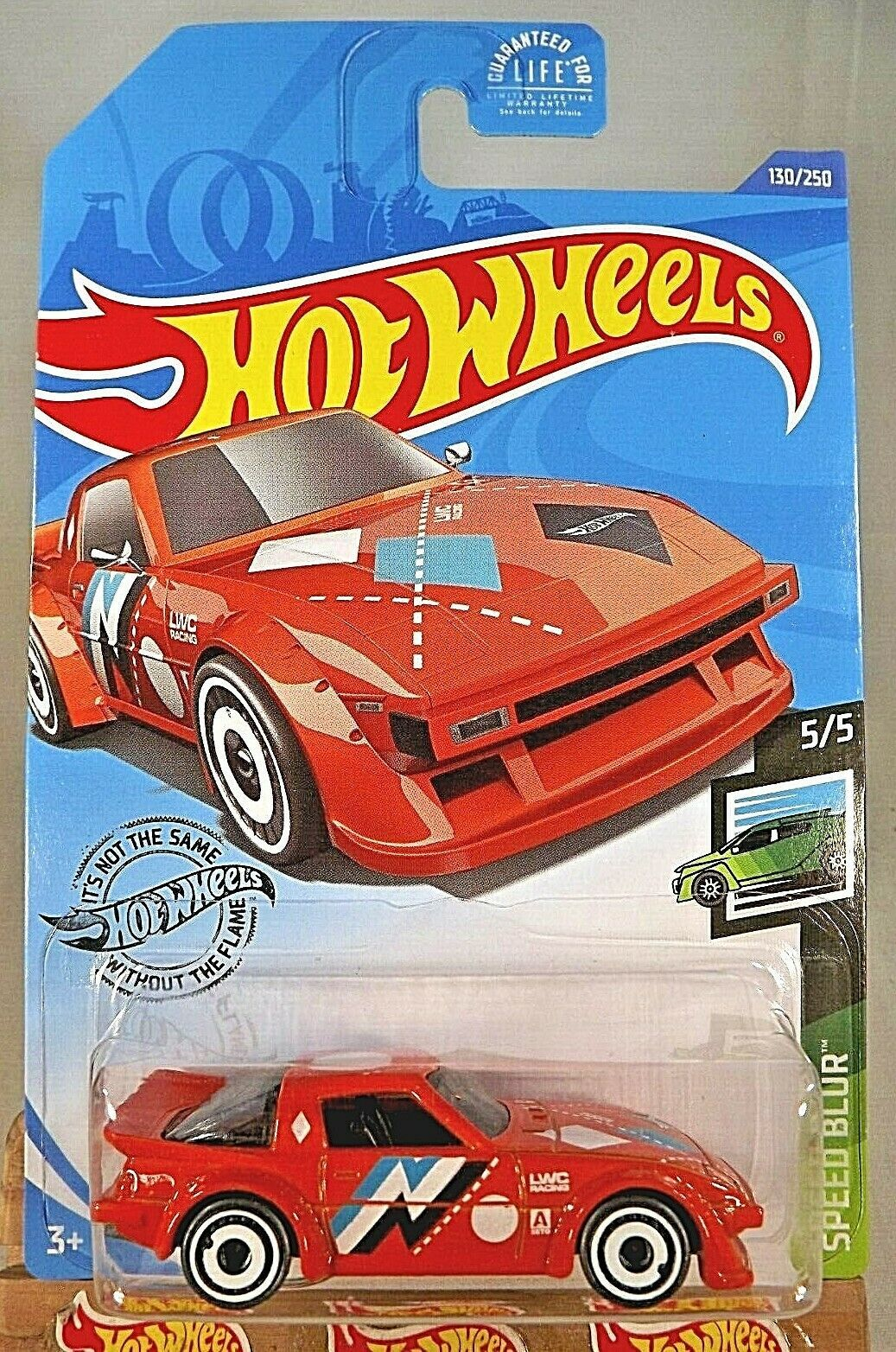 Primary image for 2020 Hot Wheels #130 Speed Blur 5/5 MAZDA RX-7 Orange w/Gray Wheels White AD Sp