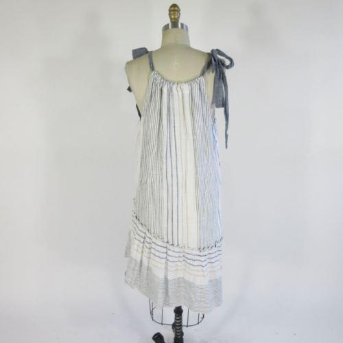 M - MAEVE Anthropologie White Chambray Tie Neck Striped Flowy Sun Dress 0000MB