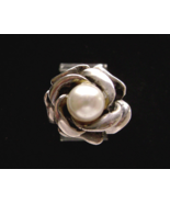 Vintage  Sterling Pearl Open Rose Hand Wrought Ring size 5  - $29.00