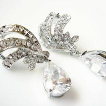 Vintage Teardrop Earrings - Cubic Zirconia Bridal - $47.00