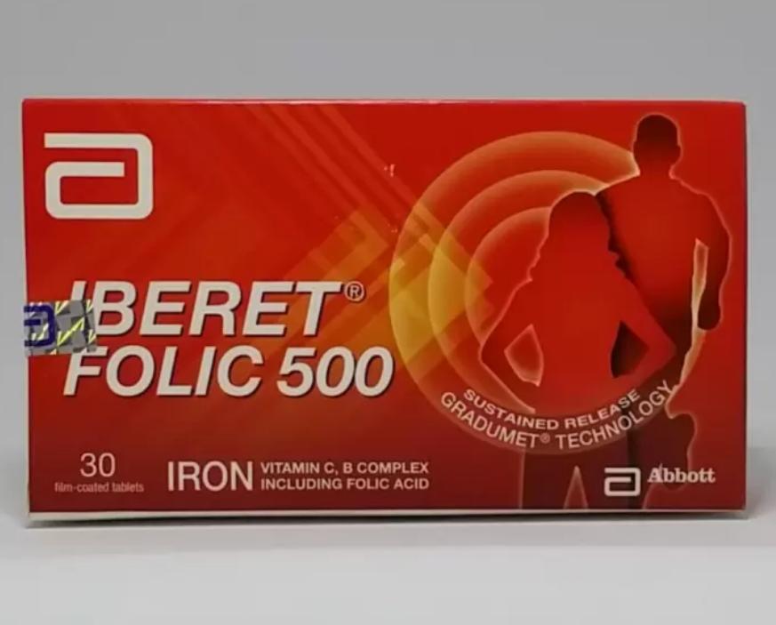 2 x 30's Abbott IBERET FOLIC 500 Iron Vitamin C, B Complex Including Folic Acid  - $53.70