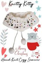 Snow-White Woolen Hand-Knit Collar With Rhinestone Gem Embellishments - $29.99