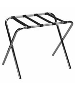 Chrome Metal Folding Luggage Rack Suitcase Stand Bag Holder Black Straps... - $45.44