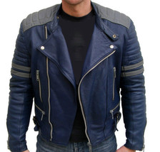 MEN BLUE LEATHER COLOR JACKET MENS BOMBER JACKET All Size available S TO... - $144.97