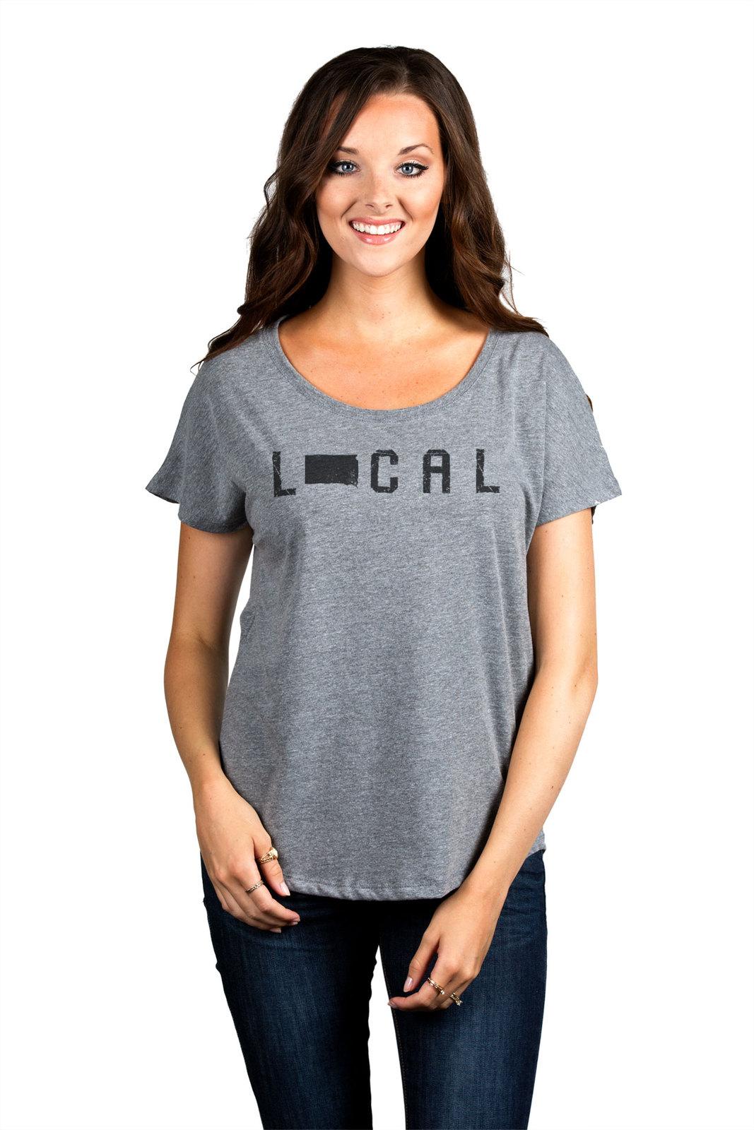 Thread Tank Local South Dakota State Women's Slouchy Dolman T-Shirt Tee Heather