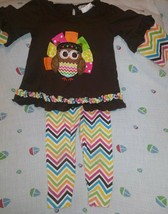 Rare Editions 2 Piece Thanksgiving Colorful Toddler Girls Outfit 18 Months   - $38.12