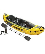 2 Person Intex Lightweight Inflatable Kayak Canoe Boat with Aluminum Oar... - $109.99