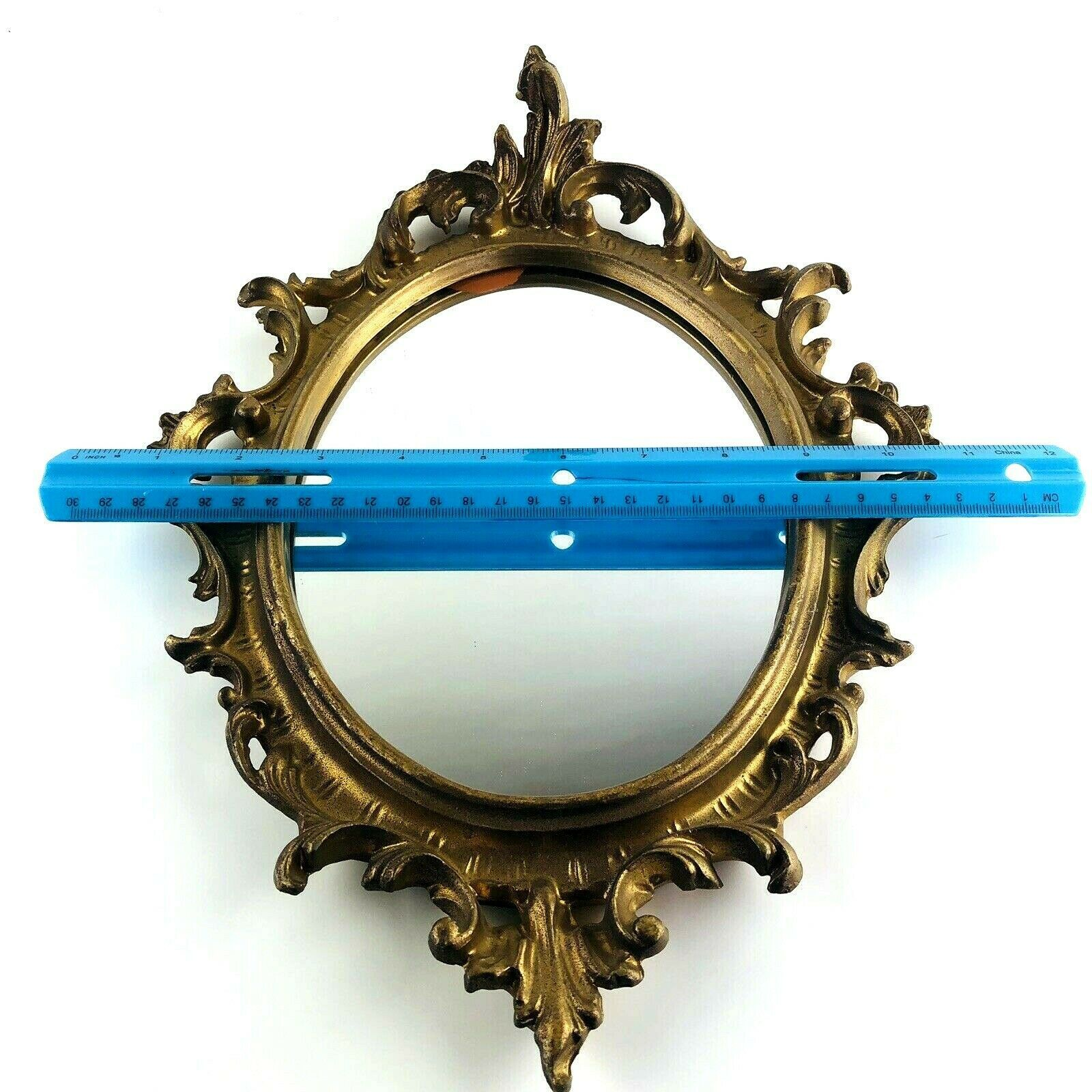 """Vintage Mirror Oval Syroco Gold Wall Hanging Frame Ornate 15""""x10.5"""" Antique M592"""