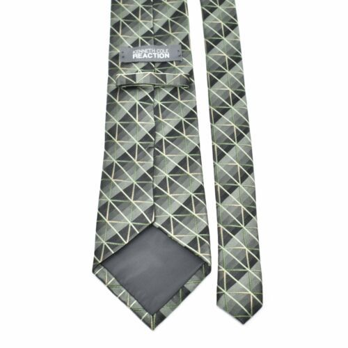 Kenneth Cole Reaction Shiny Green Tones Squares Diagonal Lines Silk Tie Necktie image 2