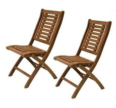 Outdoor Folding Eucalyptus Side Chair Fully Assembled 2 pack For Patio O... - $258.94