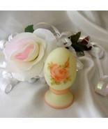 3610 Fenton Art Glass Roses On Custard Pedestal Egg - $45.00
