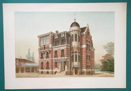 ARCHITECTURE Color (2) Prints -VICTORIAN Brick Villa Paris 41, Rue du Mo... - $71.96