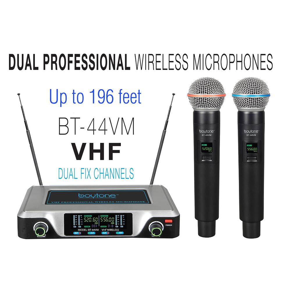 Boytone BT-44VM Dual Digital Channel Wireless Microphone System - VHF Fixed Freq