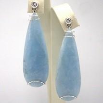 Drop earrings 18k White Gold, Diamonds Aquamarines Carats 51 Cut Drop image 1