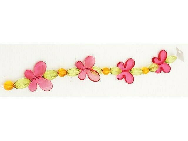 Acrylic Colorful Butterfly, Oval and Round Bead Strand 12 Inches