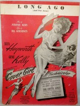 "1940's Vintage Sheet Music:  RITA HAYWORTH from ""Cover Girl"" -Long Ago (... - $7.99"