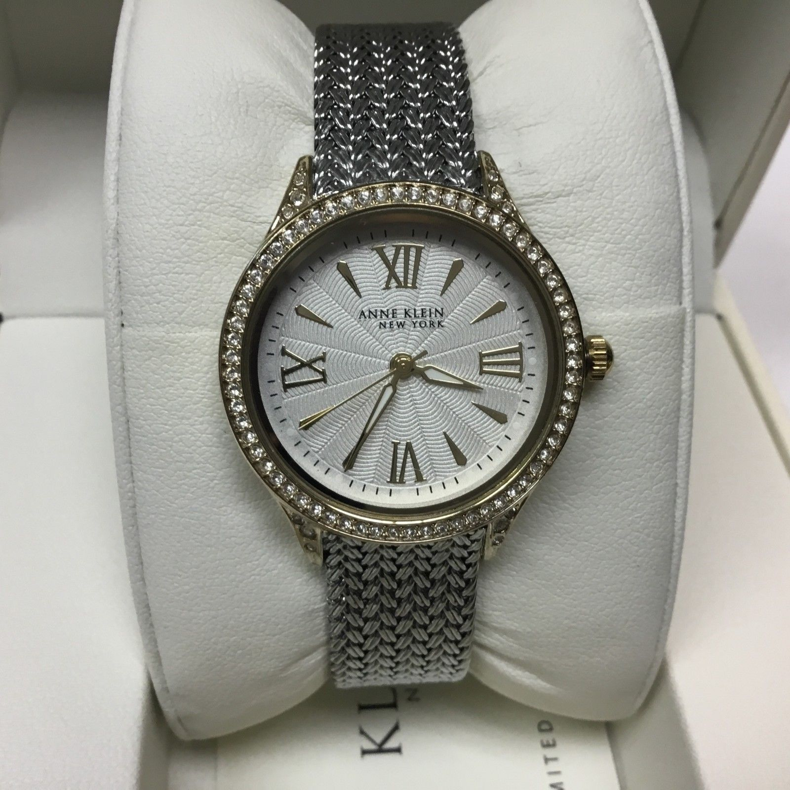 Primary image for Anne Klein Women's Watch 12/2291SVTT Mesh Band Two-Tone Swarovski Crystal