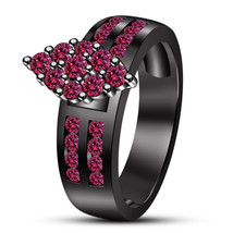 14k Black Gold Finish 925 Silver Round Cut Pink Sapphire Engagement Wedding Ring - £52.92 GBP