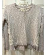 Maison Jules Light Pink Cream Sweater with Elegant Lace Back, Long-Sleev... - $10.85
