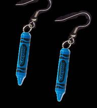 Crayola Crayon EARRINGS-Artist Teacher Charm Funky Jewelry-BLUE - $5.97