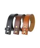 "Genuine Leather Belt Strap Casual Belt Snap 1-1/2"" Wide - Black Brown Tan - $15.95"