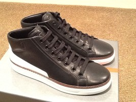 NEW PRADA CALZATURE BLACK LEATHER MID-TOP SNEAKER TRAINER SHOES US 10.5/... - $371.24