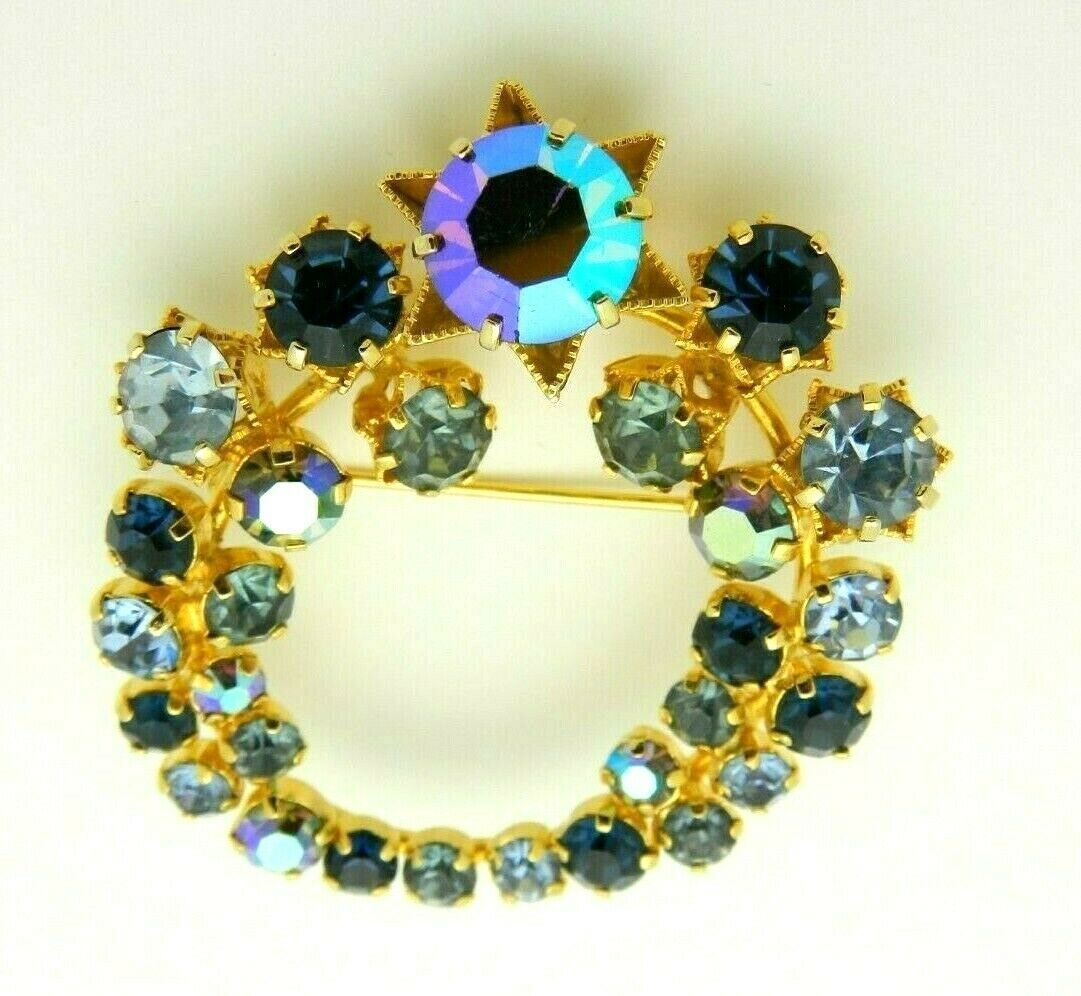 Blue Aurora Borealis Rhinestone Gold Tone Star Flower Vintage Pin Brooch As Is