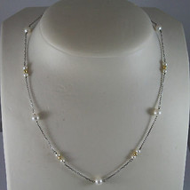 SOLID 18K WHITE GOLD NECKLACE WITH FRESHWATER WHITE PEARL AND YELLOW GOLD BALLS image 1