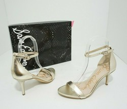 Sam Edelman Patti Gold Leather Women's High Heels Sandals Size US 5.5 M - $38.61