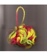 Bath Shower Puff Cotton Green Rust and Yellow100 Percent Cotton Crochete... - $6.50
