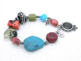 "VTG ""K"" Signed Silver Tone Gemstone Charm Bracelet - $19.80"